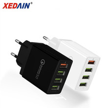 4 Ports Phones Quick QC 3.0 USB Charger Cable EU/US Plug Max Fast Chargers Charging For iphone XR XS Plus Samsung Huawei Apple