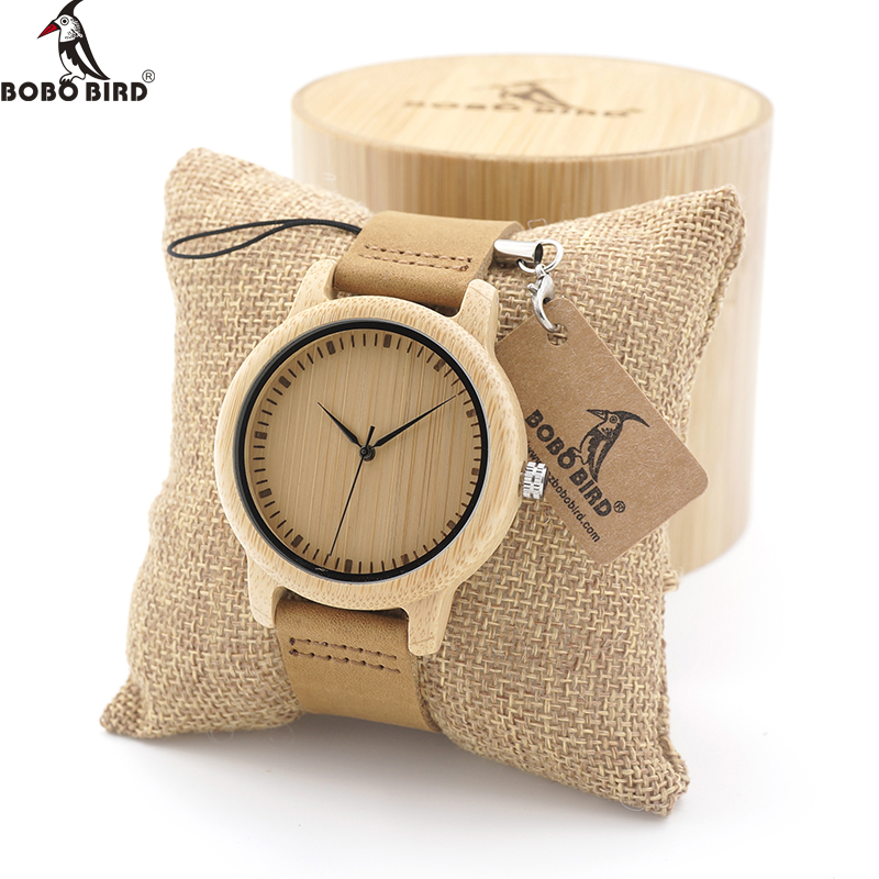 BOBOBIRD Lovers Brand Design Bamboo Wooden Watch Japanese iyota Quartz Movement Watch with Real Leather Band in Gift Box