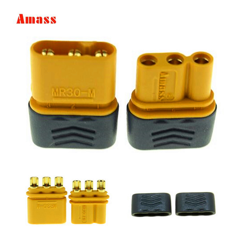 5pair/lot Amass Upgrated of XT30 Connector MR30 Connector Plug Female and Male Connector Plugs Gold Plated For RC Parts 20% off high quality z5d40 24gn 5gn100k dc motor 40w 3000rpm 24v 2 6a micro dc gear motors dc brush gear motor dc motor hot selling