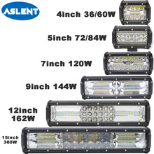 Aslent 5 7 12 15 inch 36W 60W 72W 120W 240W LED Work Light Bar headlights Spot flood For 4WD 4x4 Offroad SUV ATV Tractor Truck