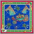 130*130cm 2017 100% twill silk blue scarf for women shawl poncho print horse christmas silk scarves