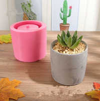 Concrete Flower Pot Mold Round Cement Pot Silicone Mold Succulent Plants Planter Vase Home Garden Decor Handmade Clay Craft