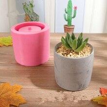 Concrete Flower Pot Mold Round Cement Pot Silicone