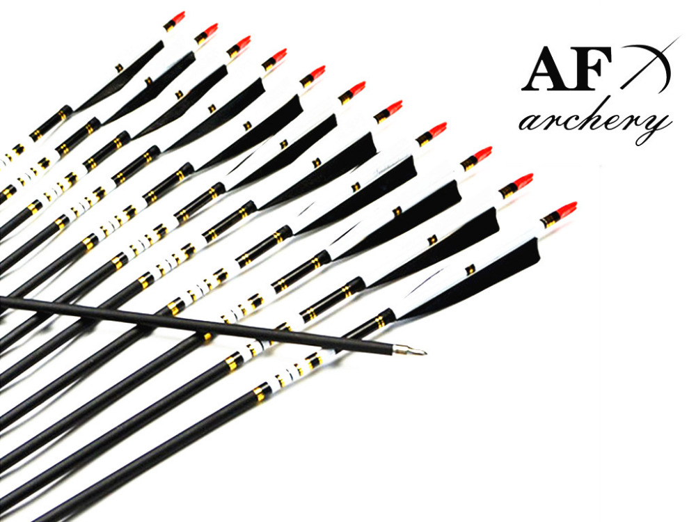 AF 12Pcs 31 Spine 500 Archery Carbon Arrow Turkey Feather  For Shooting Arrows Archery Recurve Bow arrows archery wholesale archery equipment hunting carbon arrow 31 400 spine for takedown bow targeting 50pcs