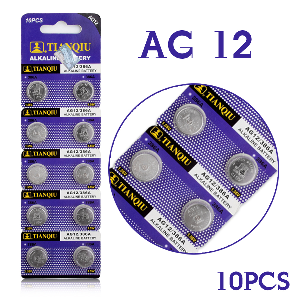 Cheap Real Power Button Battery 10pcs LR43 Button Cell Coin Battery Alkaline AG12 V12GA SR43W SG12 260 1.55V EE6213 ippon back office 1000 600 1000