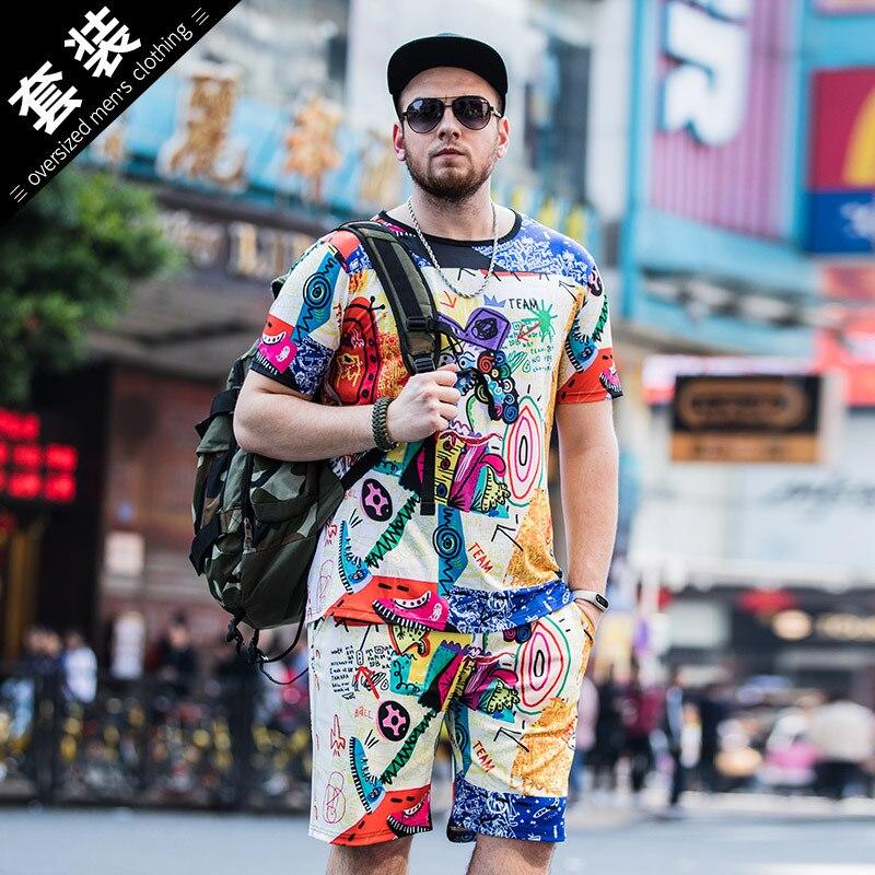 6XL lato zestaw mężczyźni przyczynowe 3D drukowanie kolorowe kreskówki z krótkim rękawem spodenki dres + spodnie dresowe męskie dres dwa kawałki w Zestawy męskie od Odzież męska na AliExpress - 11.11_Double 11Singles' Day 1