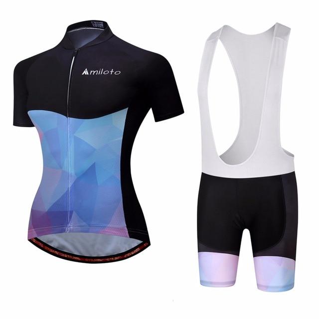 7a9398da2 Miloto Women s Cycling Bib Set Reflective Ladies Cycling Jersey Top   Bib  Shorts Kit Maillot Ciclismo Bicycle Clothing Suit