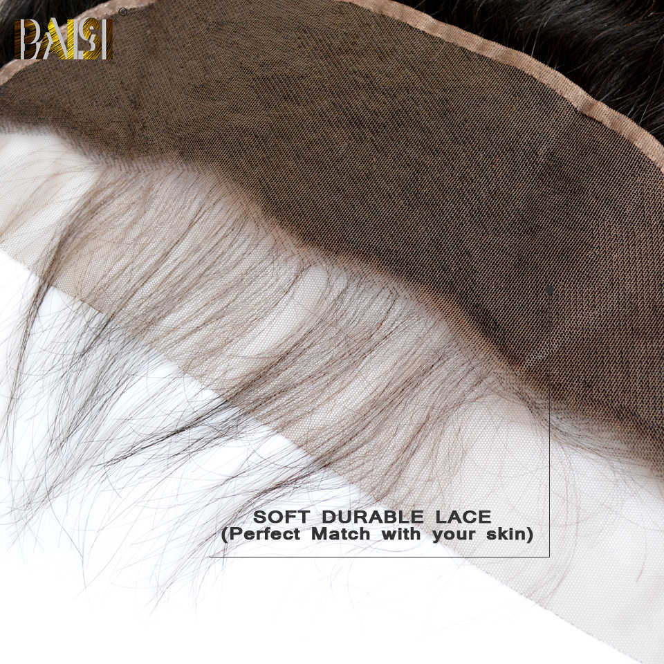 BAISI Peru Rambut Swiss Renda Transparan Frontal Langsung Cokelat Sedang Renda Frontal 13X4 100% Rambut Manusia