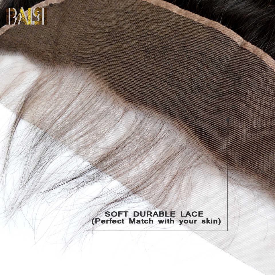 BAISI pelo virgen peruano suizo encaje transparente Frontal recto medio marrón encaje Frontal 13x4 100% cabello humano