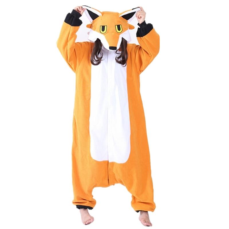 Fox Onesie Suaugusieji Vyrai Moterys Helovinas Kalėdų karnavalas Šalis Fleece Unisex Cosplay Kigu Kostiumai Jumpsuit