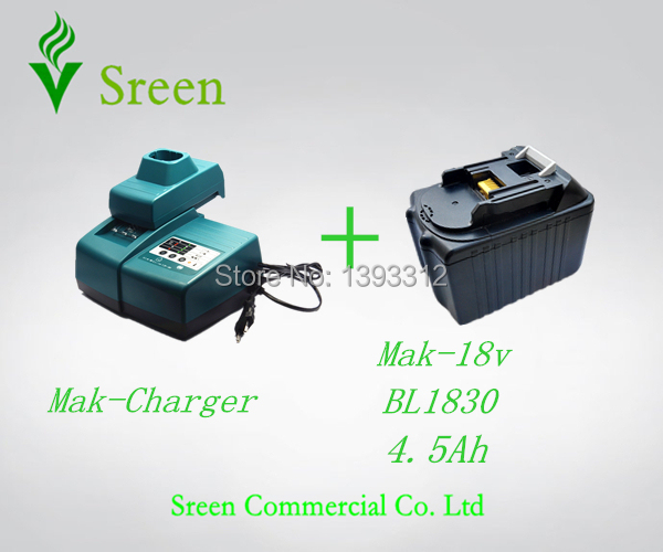 Sreen 4500mAh Rechargeable Li-ion Battery with Universal Power Tool Battery Charger Replacement for Makita 18V BL1830 power tool rechargeable battery charger for makita dc18rc li ion battery rapid 9a charger bl1415 bl1430 bl1815 bl1830