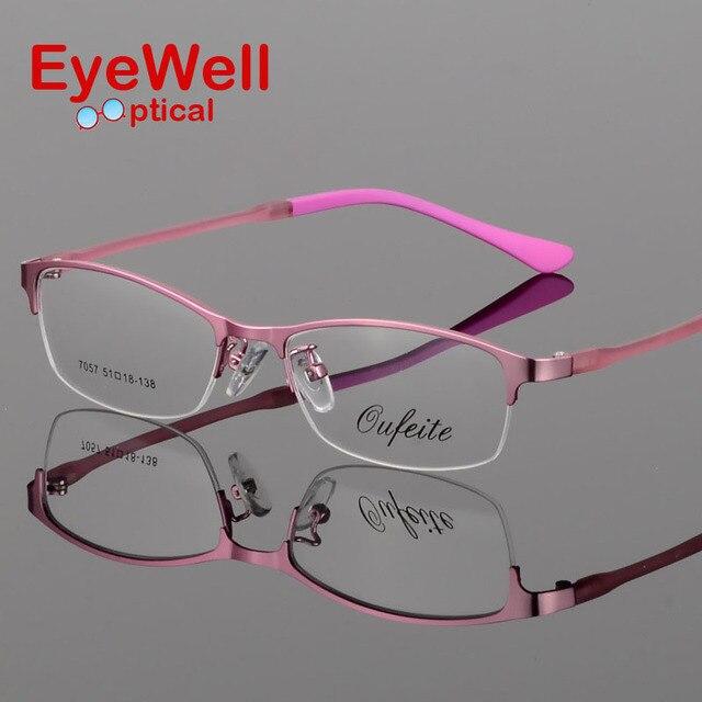 Новых женщин металлические очки кадр сверхлегкие рамки половину обода оптически рамки S7057