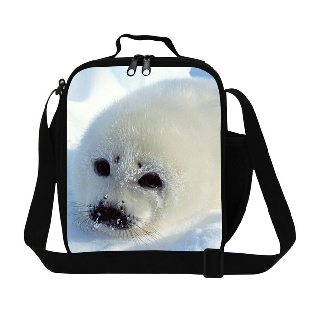 Dispalang new design white seal 3D print thermo thermal bag insulated cooler bag thick animal lunch bag food container lunchbox
