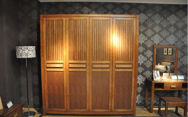 Solid Wood Wardrobe 2 M Long Four Flat Sliding Door Closet Walnut Combined With Low Priced Chinese Plate