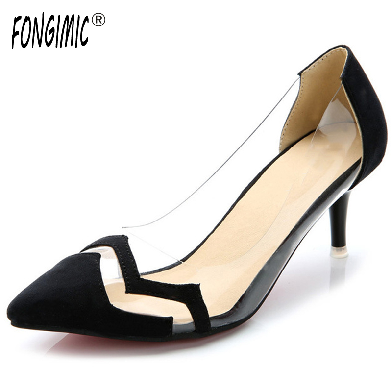 Three Colors New Fashion Trend Women Shoes Pointed Toe Female High Heels Solid Plain Slip-on OfficE Career Flock Spring Autumn new hot spring summer high quality fashion trend simple classic solid pleated flats casual pointed toe women office boat shoes