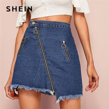 6b1487b9b9 SHEIN O-Ring Zip Detail Frayed Hem Denim Skirt Womens Casual Summer High  Waist Skirt Solid Pocket Patch A Line Lady Mini Skirt
