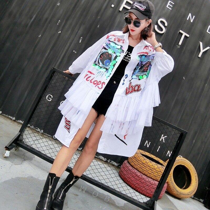 Mujer 2018 Animados Cuentas Malla Vestido Uñas Brillante Falda Mareal Nueva blanco Camisa Otoño Pulgadas Nueve Dibujos Pieza Hilo Personalidad Marca Negro 5rwg50qz