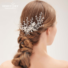 Himstory Hair Combs Classic Western Style Handmade Pearls Bead Haircomb Crystal Wedding Comb Bridal Accessories