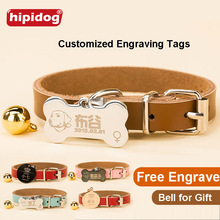 Free Engraving Text On Front Back Sides Stainless Steel Pet Dog Tag Customized Name Address Tel Pendant with Collar Bell