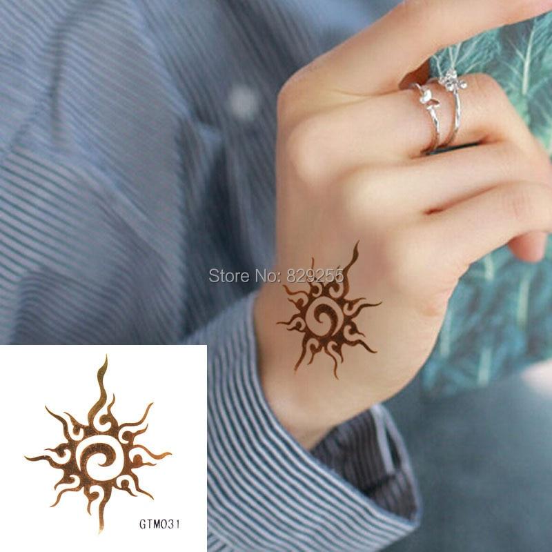 The Fire Sun Gold Flash Tattoo Metallic Tattoos Temporary Sticker