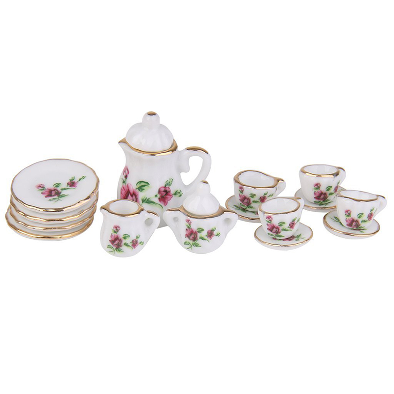 ABWE Best Sale 1/12 Doll House Miniature Porcelain Tea Set Dish Cup Plate Red Peony ...