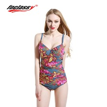 Foclassy Swimsuit Bikini Beach Wear 2017 Plus Size Bathingsuit Swimwear Women's swimming one-piece suit high Bandeau Bather