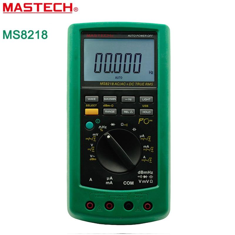 MASTECH MS8218 Цифровой мультиметр 50000 отсчетов True RMS DMM дБ метр w/RS232 Интерфейс высокой точности multimetro