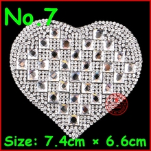3 pcs/Lot Shiny heart Fashion hotfix rhinestones strip,heat transfer design iron on motifs, DIY Accessories motif