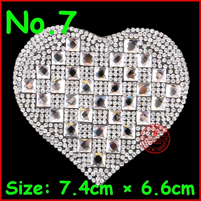 1 pcs Shiny White heart Patches Hotfix Rhinestones Motif Crystal Patch For Children  Women Wedding Dress Clothes DIY Accessories ce4c7023a348