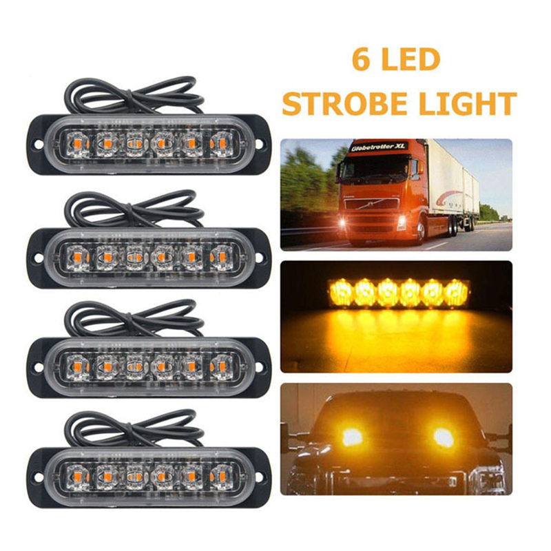 6 LED Emergency Grille Police Light Car-Styling Bright White Yellow Red Blue Amber Car Truck Van Beacon Strobe Warning Flashing