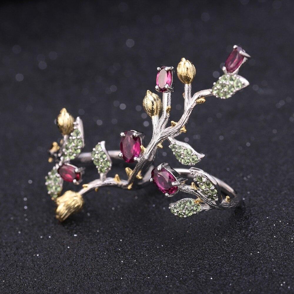 GEM'S บัลเล่ต์ Rhodolite Natural Garnet แหวนต่างหูชุดเครื่องประดับ 925 เงินสเตอร์ลิง Handmade เครื่องประดับชุดสำหรับผู้หญิง-ใน ชุดอัญมณี จาก อัญมณีและเครื่องประดับ บน   3