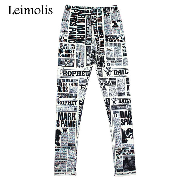 62dbb421059d8 Leimolis High Waist punk rock Harajuku workout push up fitness sexy gothic 3d  print poster newspaper women leggings