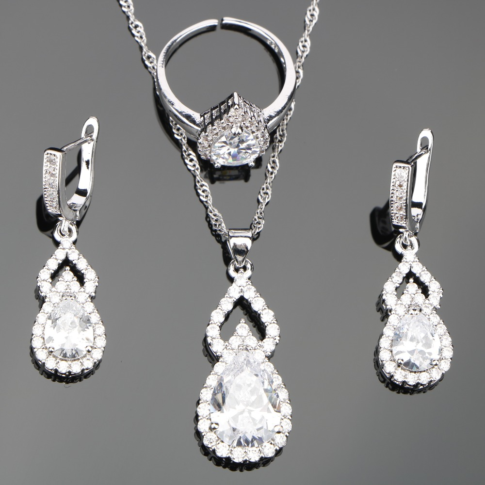 White Zircon Silver 925 Wedding Costume Jewelry Sets For Women Set of Earrings Rings Necklace Pendant Stones Jewelery Gift Box