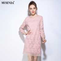 MUSENDA בתוספת גודל חלולה את נשים תחרה שמלה קצרה 2017 שמלת שרוול ארוך סתיו ליידי מסיבת אופנה מזדמן עבודה במשרד שמלות