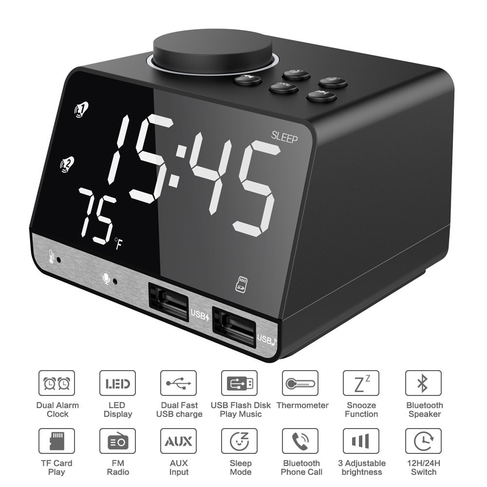 Wireless Bluetooth Speaker with Digital Alarm Clock Dual Port USB Charge, FM Radio, Thermometer, Large Mirror LED Display цена