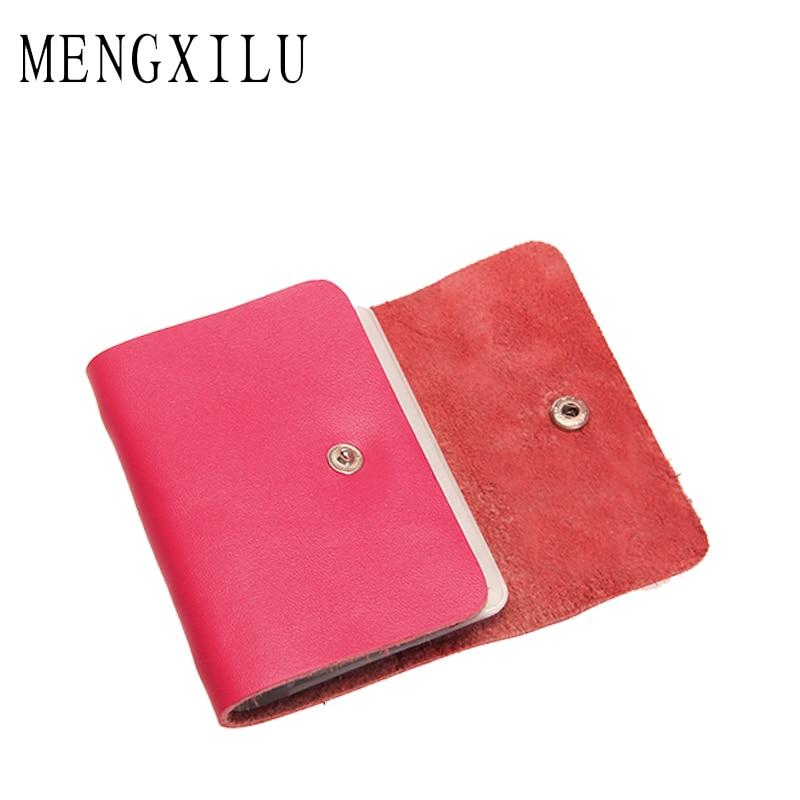 MENGXILU Brand Genuine Leather Credit Card Holder Women Card Wallet 20 PCS holder Men Real Leather Bags Women 2018 New Fashion