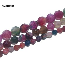 цена Wholesale Faceted Natural Stone Tourmaline Agates Beads Round Spacer Beads For Jewelry Making Diy Bracelet Necklace 6/8/10 MM онлайн в 2017 году