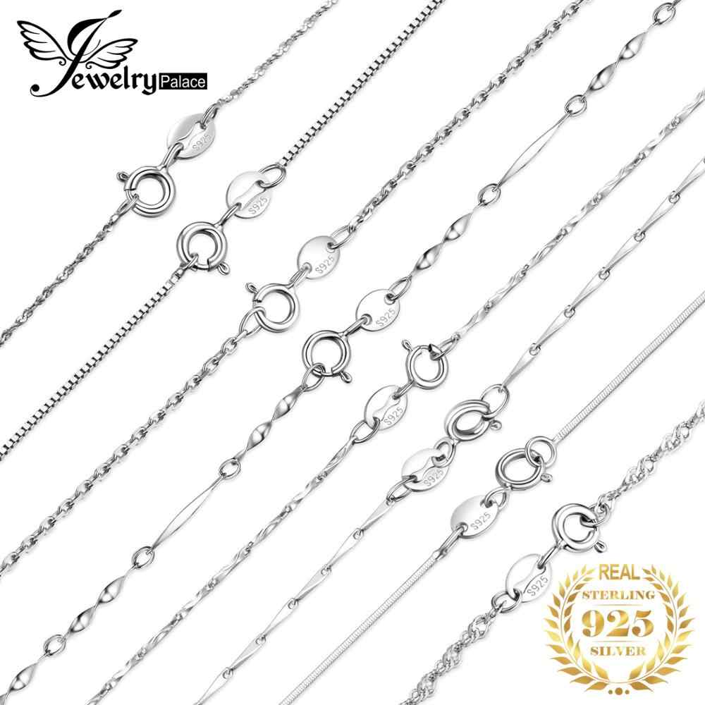 JewelryPalace 100% Genuine 925 Sterling Silver Necklace Ingot Twisted Trace Belcher Snake Bar Singapore Box Chain Necklace Women