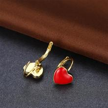 Cute Earrings Jewelry Gold Color Lavendar Purple/Red Heart Brincos For Children Girls Kids Mothers day gifts for mom