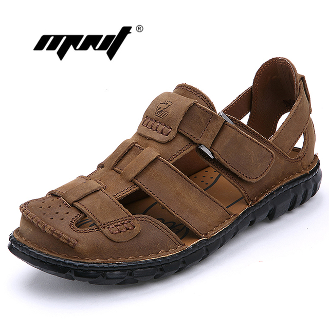 c40663250b4f3 Top Quality Men Sandals Full Grain Leather Men Leather Outdoor Shoes Casual Summer  Shoes Handmade Beach Sandals