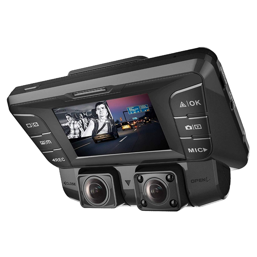 Pruveeo C2 Dash Cam with Infrared Night Vision Dual 1080P Front and Inside Dash Camera for