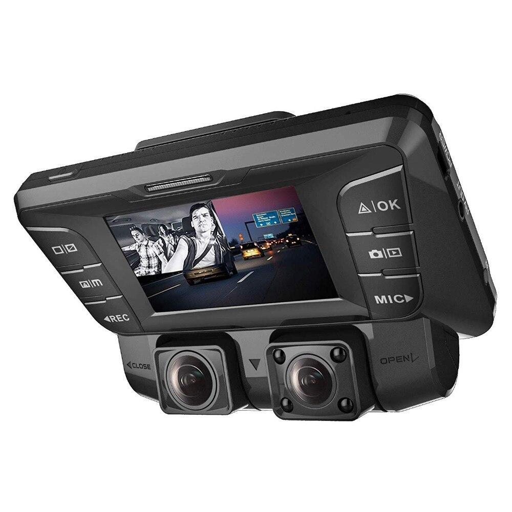 Caméra de tableau de bord Pruveeo C2 avec Vision nocturne infrarouge, double avant et intérieur 1080 P, caméra de tableau de bord pour voitures Uber Lyft camion Taxi