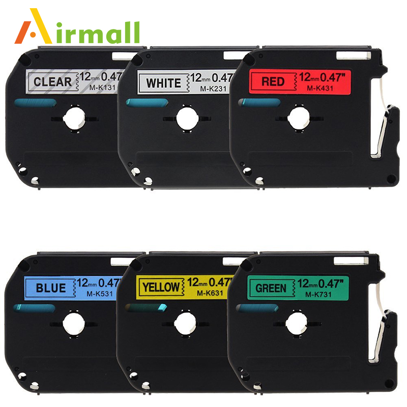 6 Pack Compatible Brother P-touch M Tape M131 M231 M431 M531 M631 M731 Label Tape for Brother P Touch Label Maker PT-90 PT-M95