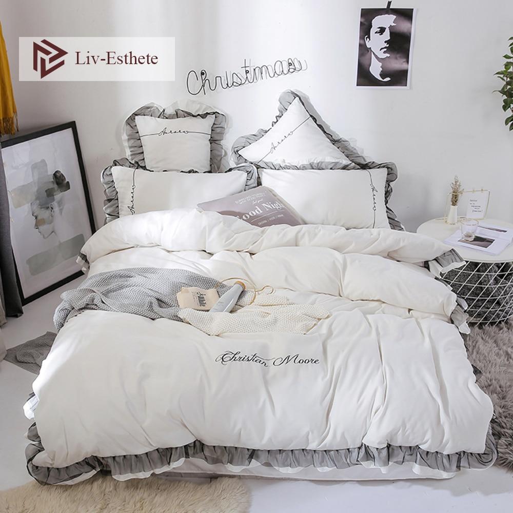 Liv Esthete Luxury Beauty White Bedding Set Lace Duvet Cover Flat Sheet Bedclothe Double Queen King