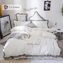 Liv-Esthete Luxury Beauty White Bedding Set Lace Duvet Cover Flat Sheet Bedclothe Double Queen King Bed Linen For Girl Gift