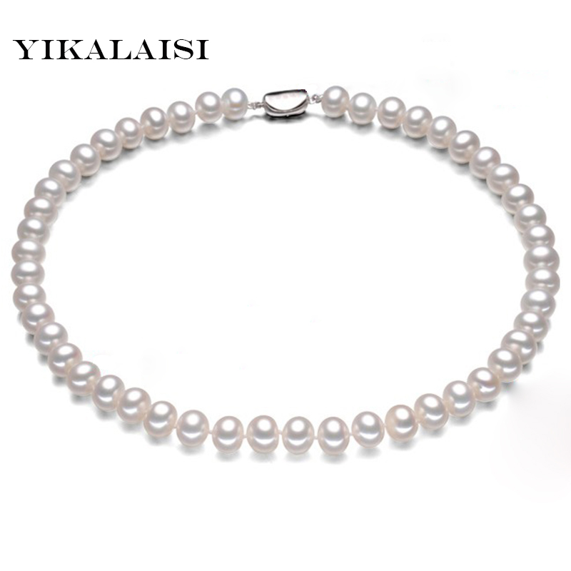 YIKALAISI 2017 100% Natural Freshwater Pearl choker Necklace Pearl Necklace with 925 sterling Silver jewelry For Women gift yikalaisi 2017 real freshwater natural pearl necklace women fine perfect round necklace 925 sterling silver pearl jewelry