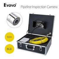 EYOYO WF90 7 TFT Цвет монитор 1000TVL 110 градусов IP67 DVR 50 м дренажной трубы трубопровода инспекция канализационные Камера DC12.6V змея Cam 8 ГБ
