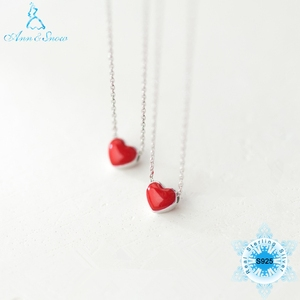 Pure 925 Sterling Silver Red H
