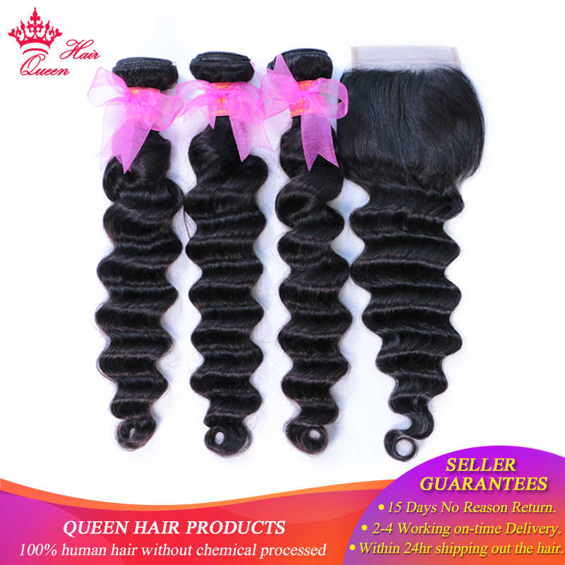 Queen Hair Loose Deep Wave Bundles With Closure Brazilian Hair Bundles With Closure Human Hair Weave Bundle With Closure Remy
