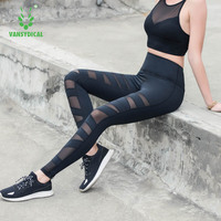 Vansydical Female Breathable Fitness Sports Leggings Trousers For Women Reflective Yoga Pants Compression Running Tights